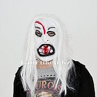 Латексная маска на хэллоуин злой призрак с порезом на лице 04