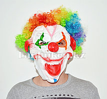 Латексная маска на хэллоуин ужасный клоун с радужными волосами 01