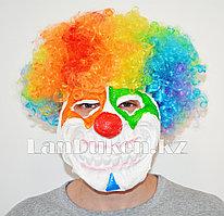 Латексная маска на хэллоуин ужасный клоун с радужными волосами 04