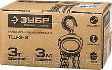 """Таль цепная """"ТШ-3-3"""" шестеренная, ЗУБР Профессионал 43081-3, 3т / 3м., фото 2"""