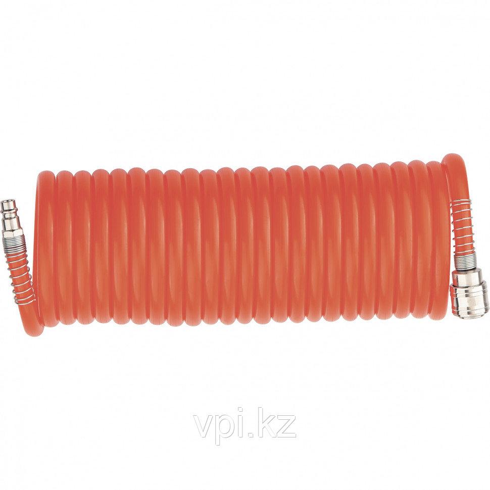 Шланг спиральный, воздушный с быстросъемными соединениями ⌀8мм. 15м. 18бар.  Matrix