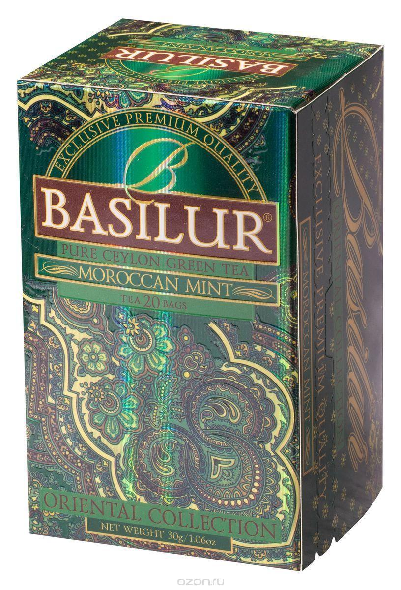 Чай зелёный пакетированный Восточная коллекция Марокканская мята Moroccan Mint, 20пак Basilur