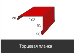 Доборные элементы, Оцинкованное,Торцевая планка, 120 мм*95 мм