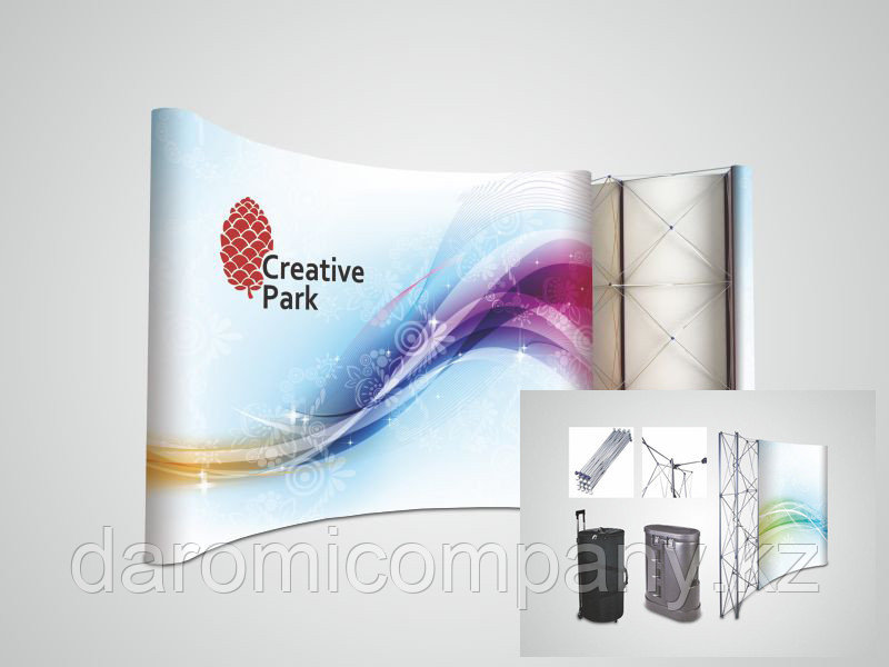 Lux Pop Up Пресс Стена с Панелями Полукруглая Эконом (С Промо Столом-Тубусом)