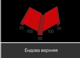 Доборные элементы,Стандарт глянец,Ендова верхняя,100 мм*100 мм