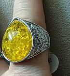 "Кольцо- перстень ""Янтарная капля"", фото 2"
