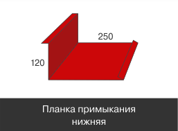Доборные элементы,Стандарт матовый,Планка примыкания нижняя,120 мм*250 мм