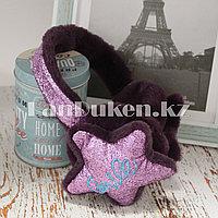 Меховые наушники со звездами и блестками 18815-7 фиолетовые