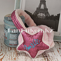 Меховые наушники со звездами и блестками 18815-7 розовые