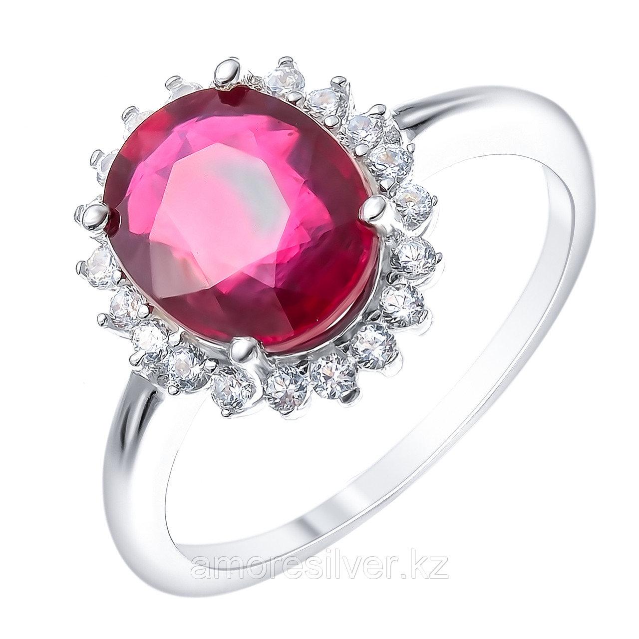 """Кольцо Teosa серебро с родием, рубин топаз, """"halo"""" R-DRGR00685-RB-T"""