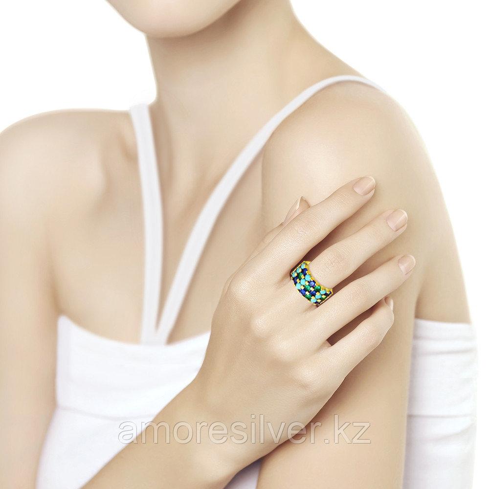 Кольцо SOKOLOV серебро с позолотой, ситалл фианит, геометрия 93010765