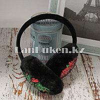 Меховые наушники с двухцветными пайетками 18815-6 черные