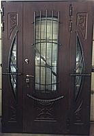 Дверь стальная с влагостойким МДФ, виноритом, стеклопакетом и ковкой