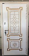 Дверь стальная с влагостойким МДФ и виноритом с патиной