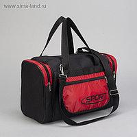 Сумка спортивная, отдел на молнии, длинный ремень, цвет красный/чёрный