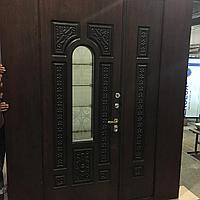 Дверь стальная со стеклопакето с влагостойким МДФ, виноритом и зашивками по бокам