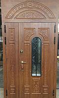 Дверь стальная с зашивкой, стеклопакетом и ковкой, влагостойким МДФ, виноритом