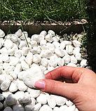Белоснежная мраморная галька (окатыш) в мешках по 20 кг, фото 4