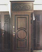 Дверь стальная с фрамугой, влагостойким МДФ и покрытием Винорит