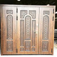 Дверь стальная двупольная с влагостойким МДФ и покрытием винорит с патиной