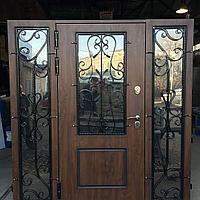 Дверь стальная двупольная со стеклопакетами и ковкой покрытие Винорит пр-во Израиль