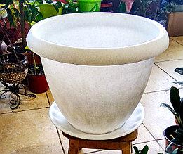 """Горшок для растений """"Розетта"""" 21,0л Д400 c поддоном мрамор С130МРА"""