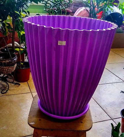 Горшок для растений. Сиреневый с поддоном. Размер: 330x360, фото 2