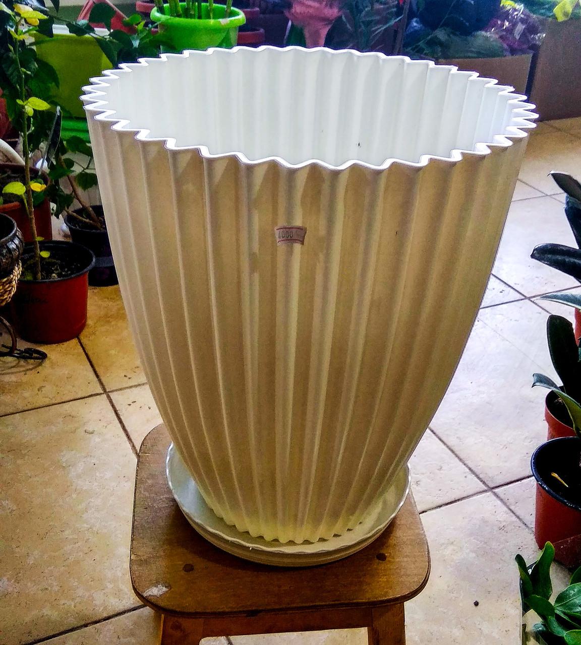 Горшок для растений. Белый с поддоном. Размер: 330x360
