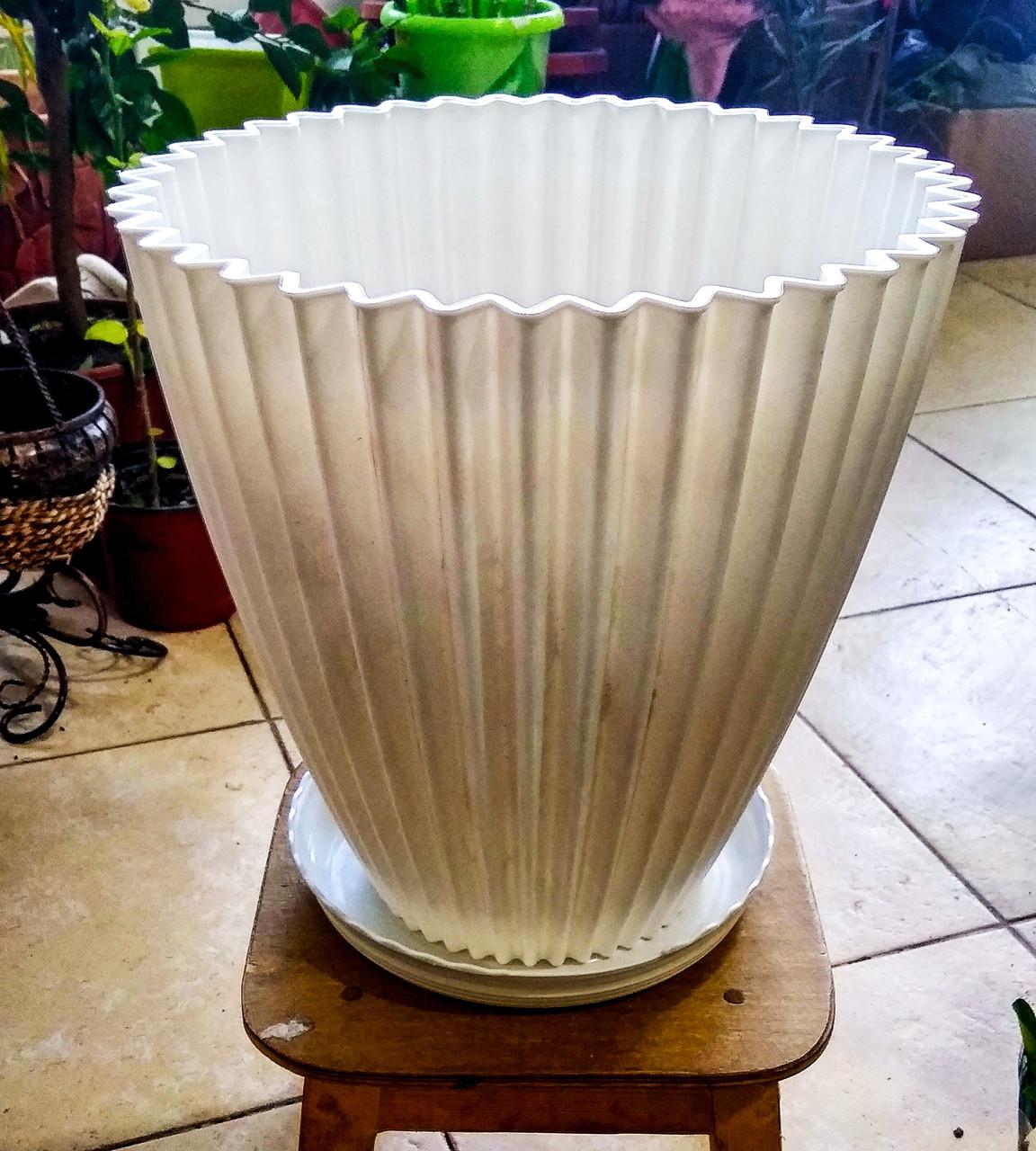 Горшок для растений. Белый с поддоном. Размер: 310x310