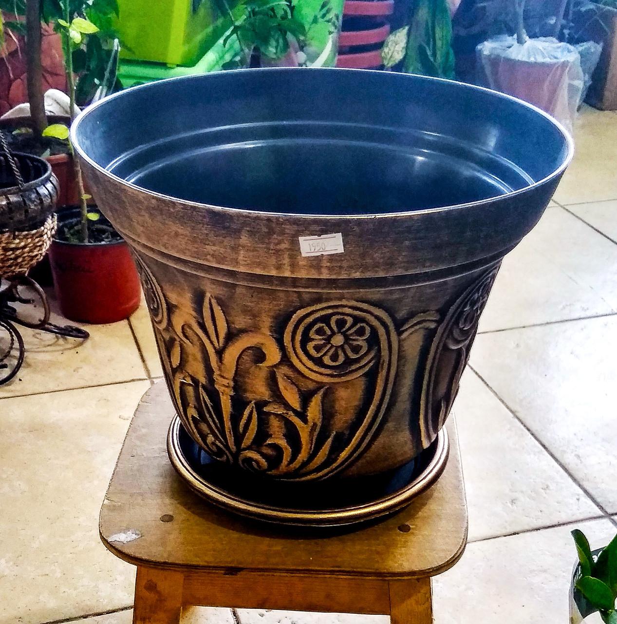 Горшок для растений LUDU. Черно-Золотой с узором. Размер: 30x23.5