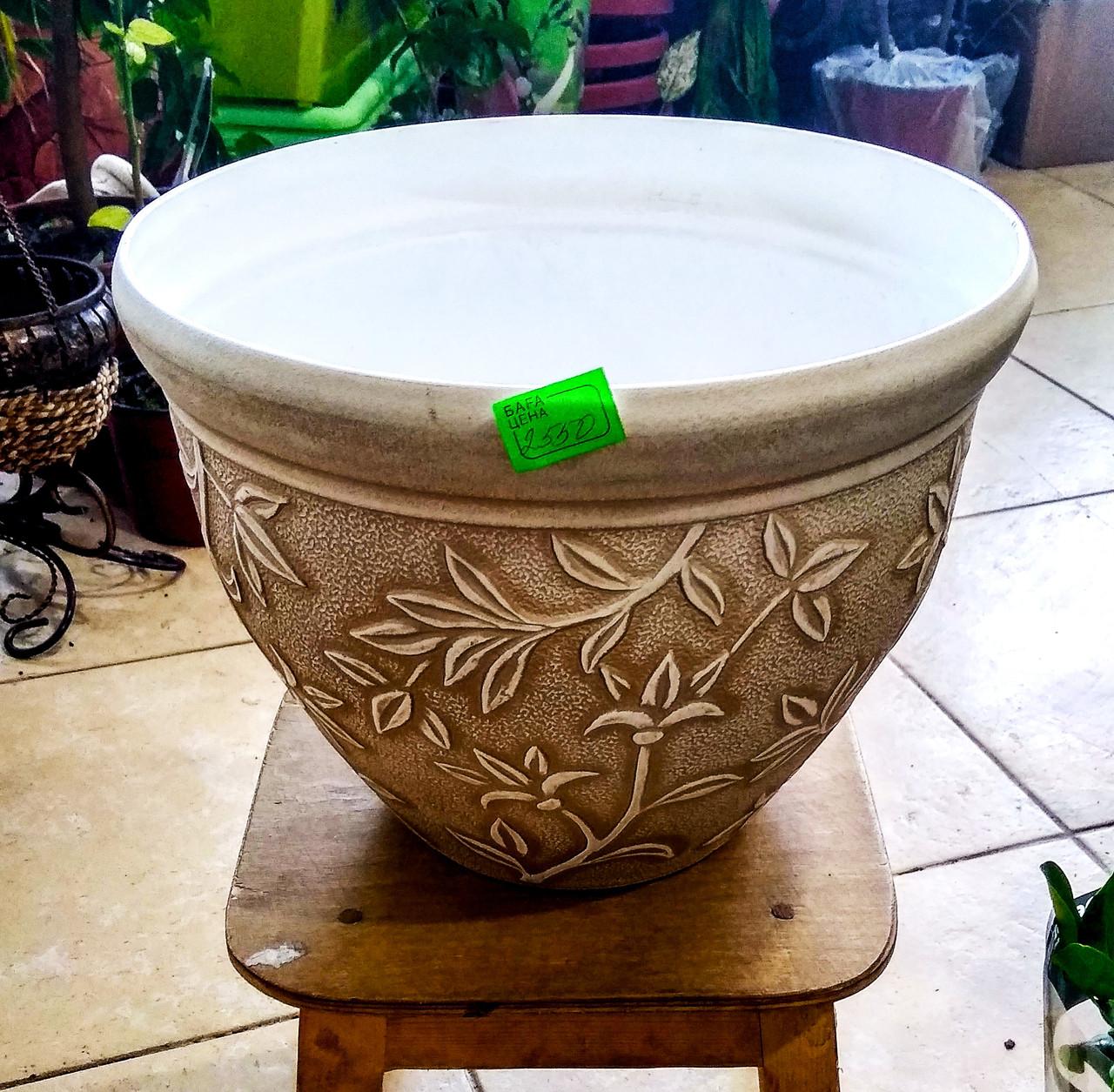 Горшок для растений LUDU. Золотистый с узором. Размер: 30x22.5