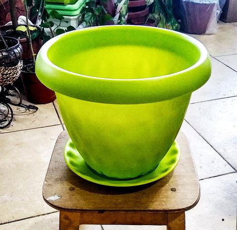 """Горшок для растений """"Розетта"""" 4,9л Д245 c поддоном зеленый С128ЗЕЛ, фото 2"""