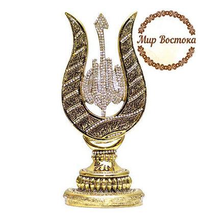 Мусульманский сувенир. Сувенир в форме тюльпана с надписью Аллах (золотистый), фото 2