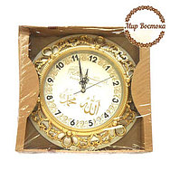 Круглые часы с надписями Аллах и Мухаммад (серебристые)