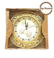 Мусульманский сувенир. Круглые часы с надписями Аллах и Мухаммад (серебристые)
