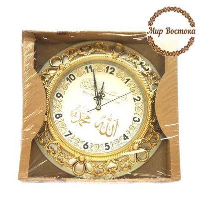 Мусульманский сувенир. Круглые часы с надписями Аллах и Мухаммад (серебристые), фото 2