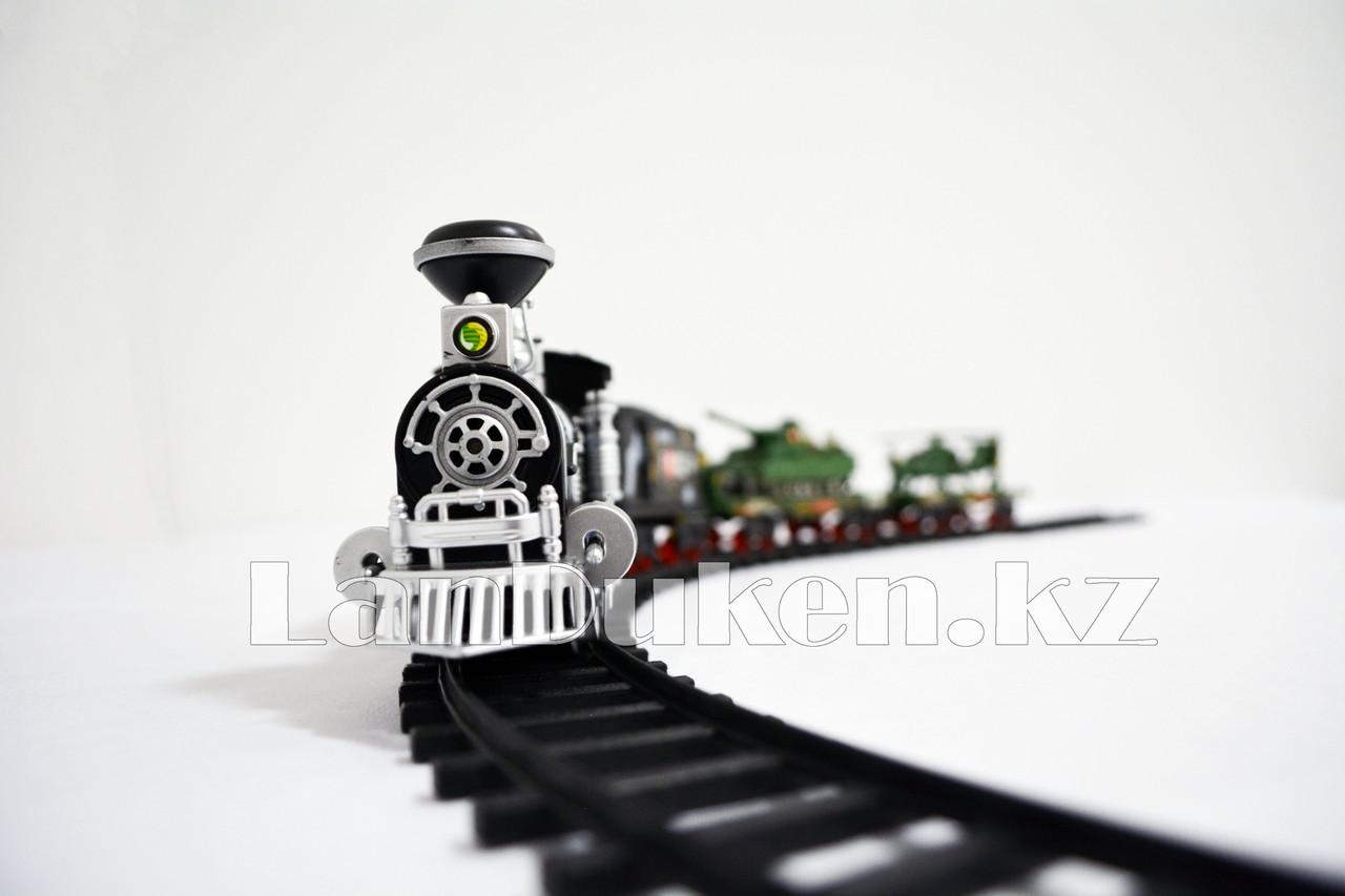 Детская железная дорога с военной техникой на батарейках с дымом из трубы, светом из фары и озвучкой 2872 (3+) - фото 2