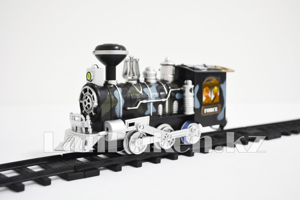 Детская железная дорога с военной техникой на батарейках с дымом из трубы, светом из фары и озвучкой 2872 (3+) - фото 4