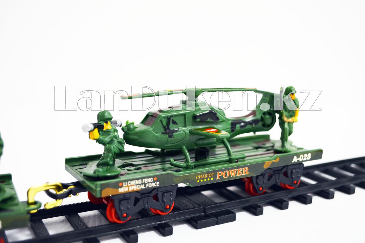 Детская железная дорога с военной техникой на батарейках с дымом из трубы, светом из фары и озвучкой 2872 (3+) - фото 7