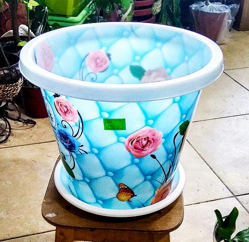Горшок для цветов. Белый с голубым рисунком. 10л., фото 2