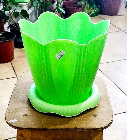 """Горшок """"Эдельвейс"""" с поддоном 3л. Зеленый., фото 2"""