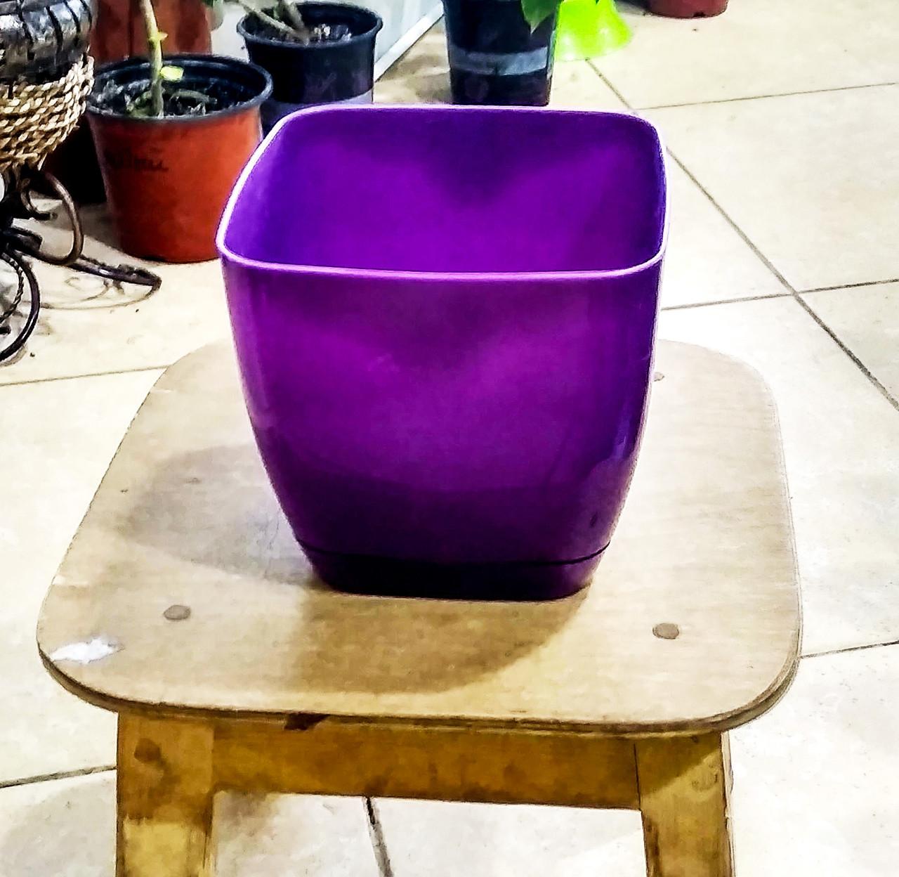 Горшок для цветов. Квадратная Тоскания. 1.7л. Цвет: Фиолетовый.