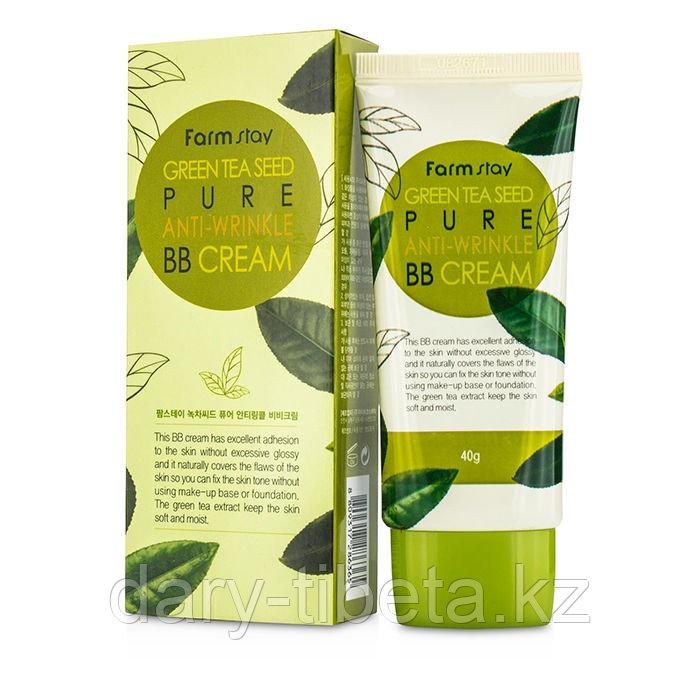 Farm Stay green tea seed pure anti wrinkle BB cream -многофункциональный разглаживающий тональный ББ крем