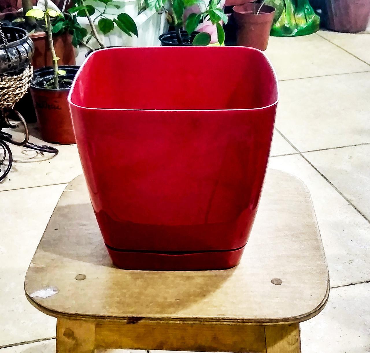 Горшок для цветов. Квадратная Тоскания. 2.5л. Цвет: Красный.