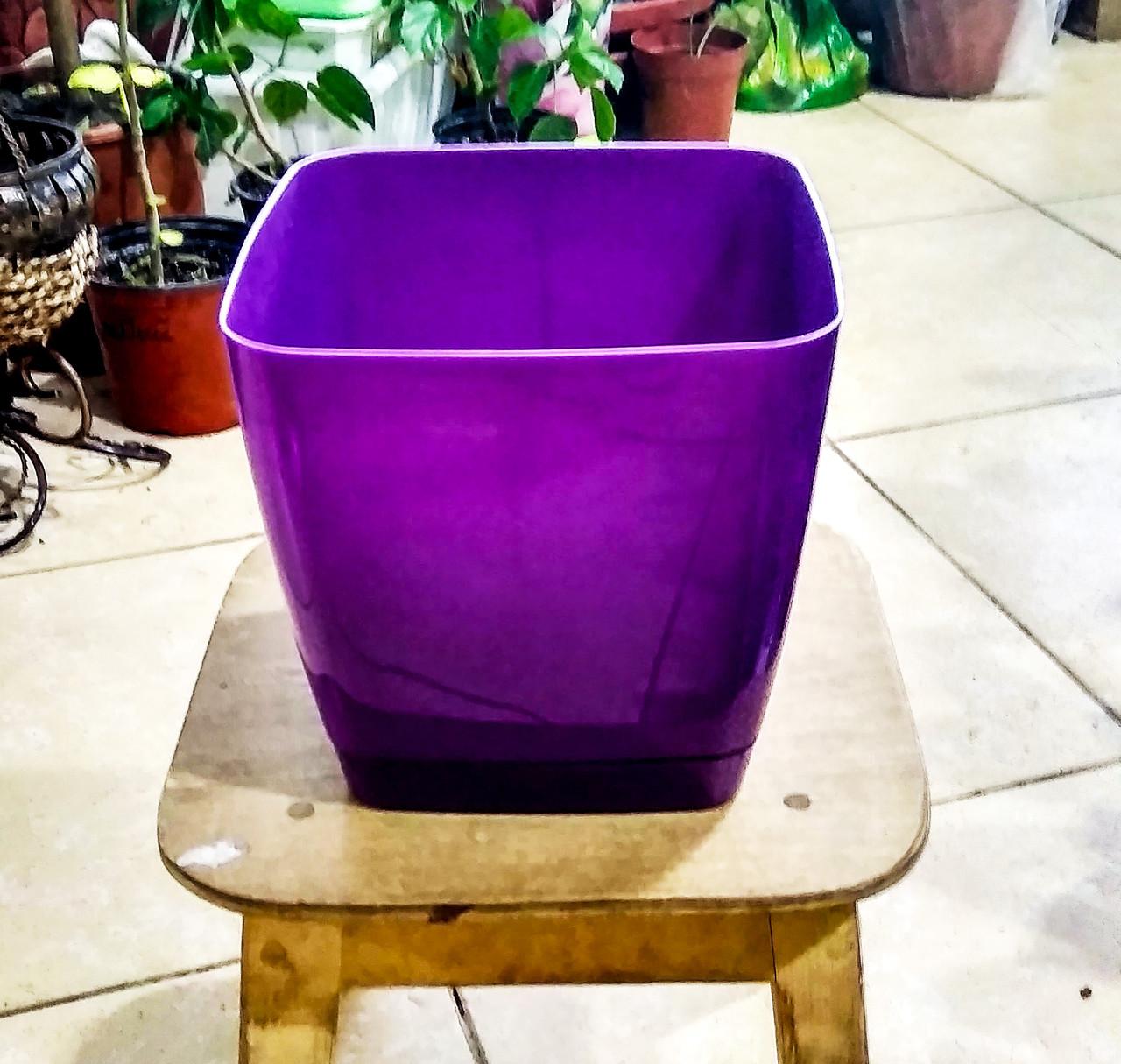 Горшок для цветов. Квадратная Тоскания. 3.7л. Цвет: Фиолетовый.