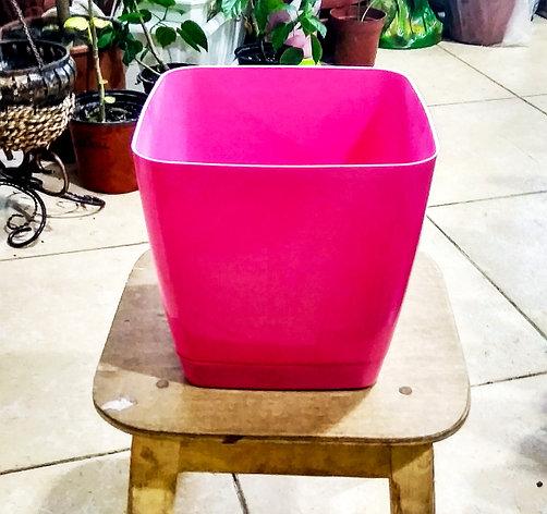 Горшок для цветов. Квадратная Тоскания. 3.7л. Цвет: Розовый., фото 2