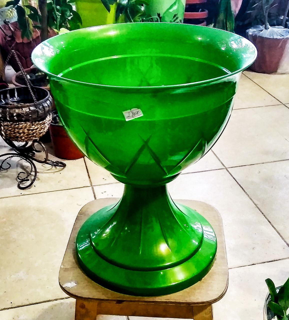 """Горшок для цветов в форме чаши """"Лилия на ножке"""". 6л. Цвет: Зеленый."""