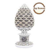 Мусульманский сувенир. Сувенир в форме яйца с 99 именами Аллаха и белыми стразами (белый)