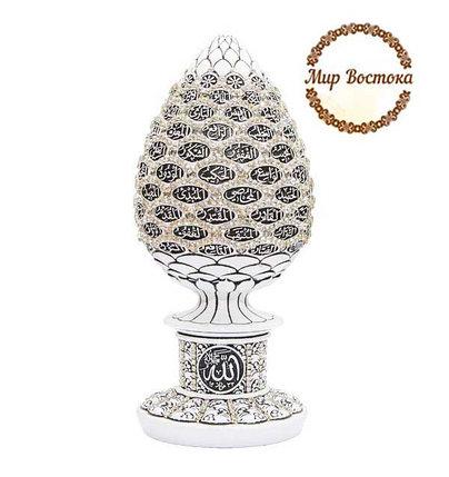Мусульманский сувенир. Сувенир в форме яйца с 99 именами Аллаха и белыми стразами (белый), фото 2