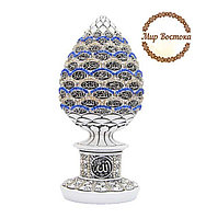Мусульманский сувенир. Сувенир в форме яйца с 99 именами Аллаха и синими и белыми стразами (белый)
